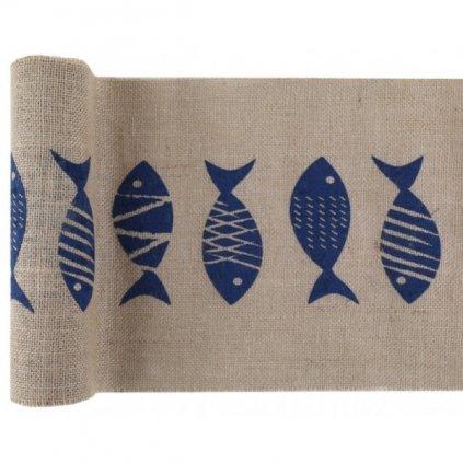 Šerpa na stůl přírodní modré ryby 28cmx3m