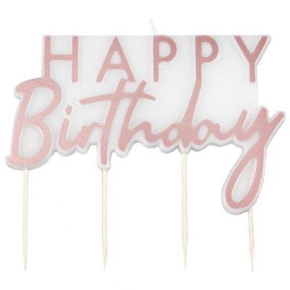 Svíčka nápis Happy Birthday Mix it Up rosegold