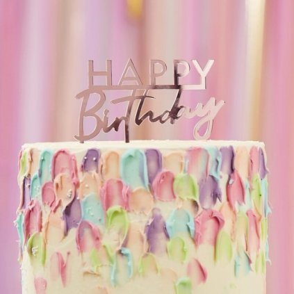 Zápich do dortu Mix it Up Happy Birthday růžový 1ks