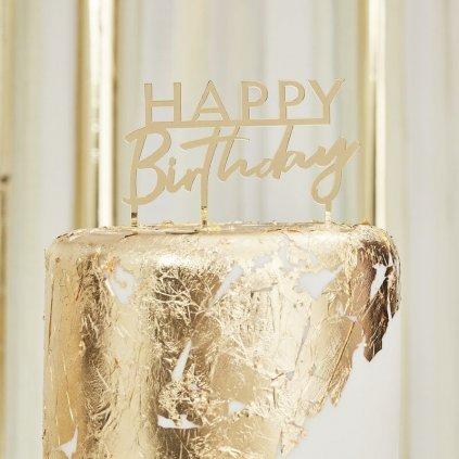 Zápich do dortu Mix it Up Happy Birthday zlatý 1ks