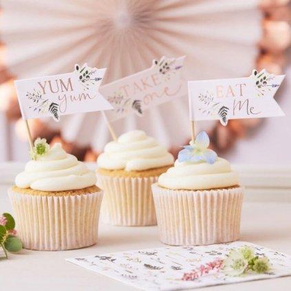 Dekorace na cupcakes vlaječky Let´s partea 12ks