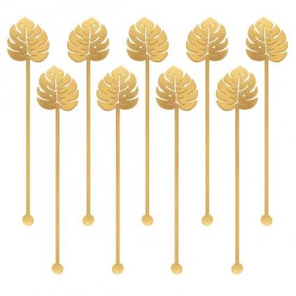 Míchátka koktejlová Listy zlaté 12ks