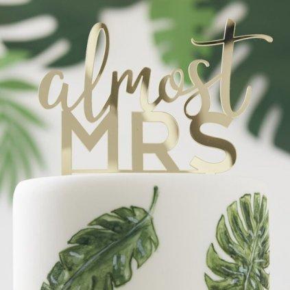 Zápich do dortu Almost Mrs 1ks zlatá
