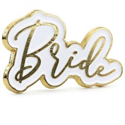 Odznáček Bride bílozlatý 1ks