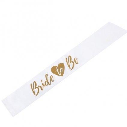 Šerpa bílá se zlatým nápisem  Bride To Be