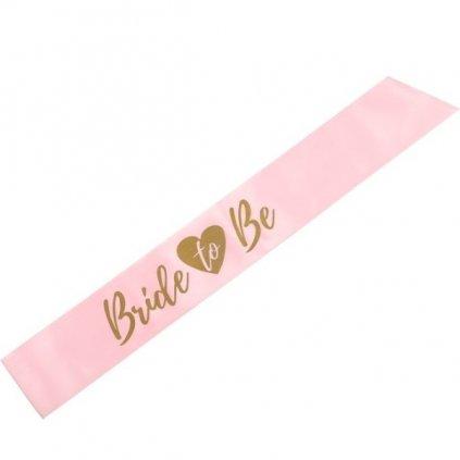 Šerpa sv. růžová se zlatým nápisem Bride To Be