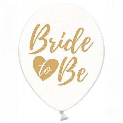 """BALÓNEK průhledný, zlaté """"Bride to be"""" 30cm 50ks"""
