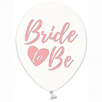 """BALÓNEK průhledný s růžovým """"Bride to be"""" 30cm 50ks"""