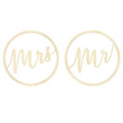 Dekorace závěsný kruh dřevěný Mr a Mrs 38cm 2ks