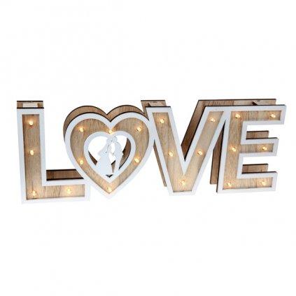 Nápis dřevěný LOVE svíticí 40x3,5x14,5cm