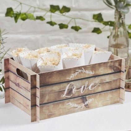 Bedýnka papírová s dřevěným dekorem Love 30x13x19cm