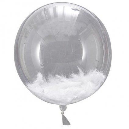 Balonky foliové bílá peříčka 45cm 3ks