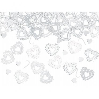 Konfety stolní 15g srdce bílá krajka