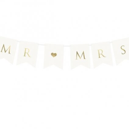 Banner zlatý nápis MR & MRS