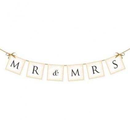 Banner svatební Mr&Mrs 77 cm