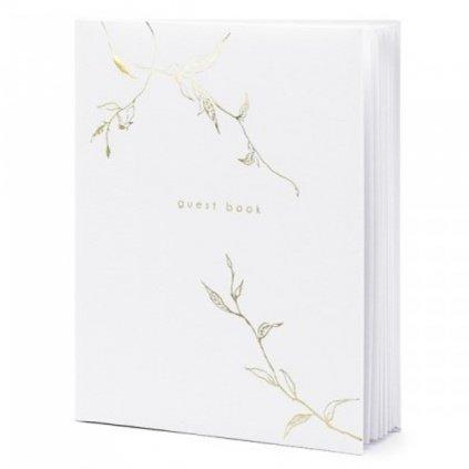Svatební kniha bílá s dekorem zlatých lístků