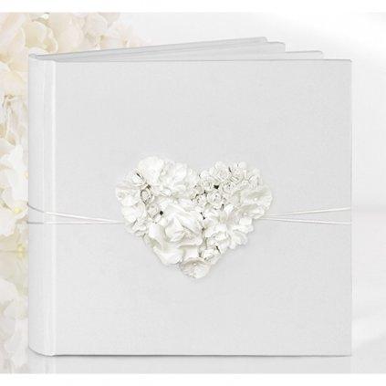 Svatební kniha hostů s květinovým srdíčkem