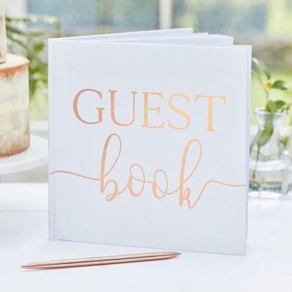 Svatební kniha hostů bílá Rose Gold