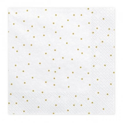 Ubrousky bílé se zlatými puntíky 33x33cm 20ks