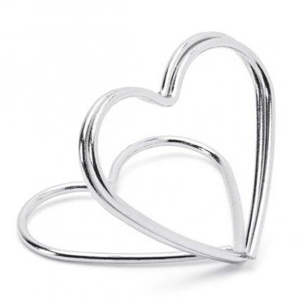 STOJÁNEK NA JMENOVKY srdce stříbrné 10ks