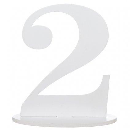 Číslo 2 na stůl dřevěné s podstavcem 1ks