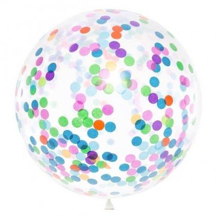 JUMBO balón transparentní s barevnými konfetami