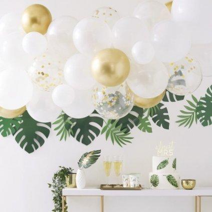 SADA balónků na balónkový oblouk bílozlatá