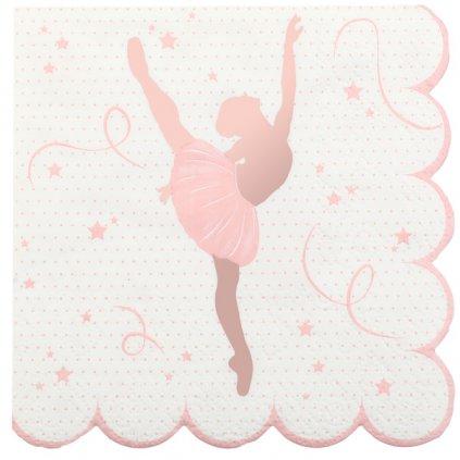 Ubrousky růžové Baletka 12,5x12,5cm 20ks