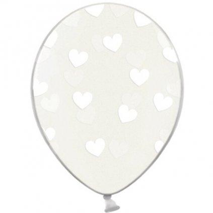 Balónek latexový s bílými srdíčky 50ks