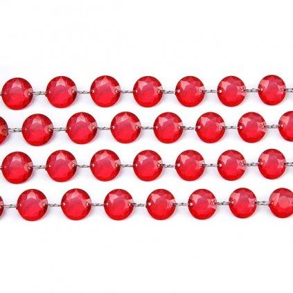 Dekorační řetěz červené krystalky 1m