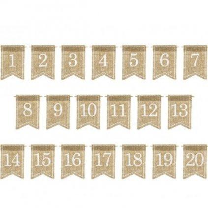 JUTOVÉ visačky z čísly 1-20 k označní stolů