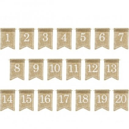 Označení stolů jutové visačky 1-20