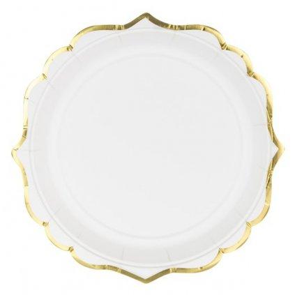 Talíře bílé se zlatým okrajem 6 ks