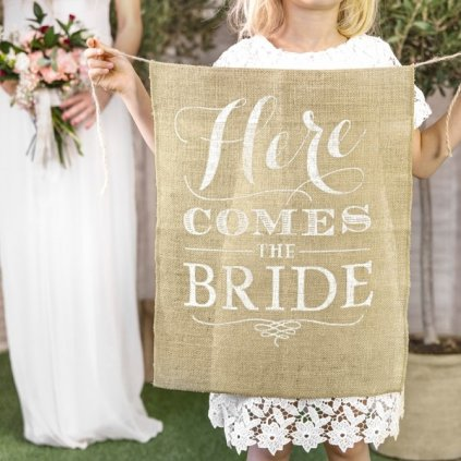 Banner Here Comes Bride.1