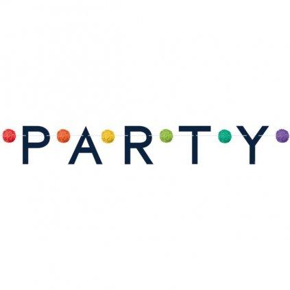 Banner papírový nápis Party s barevnými pompomky