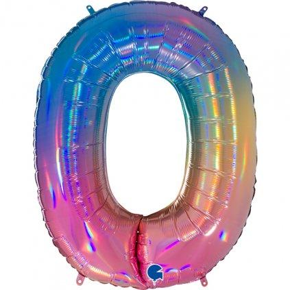 Balonek foliová číslice 0 duhová 102cm