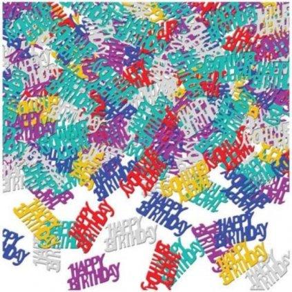 KONFETY na stůl  Happy Birthday barevné