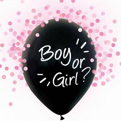 BALÓNKY Boy or Girl - růžové konfety 4 ks