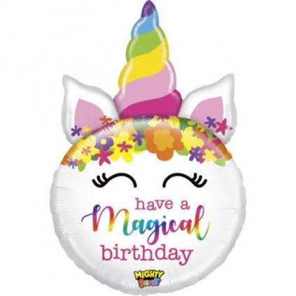 BALÓNEK fóliový hlava jednorožce Magical Birthday, 83 cm