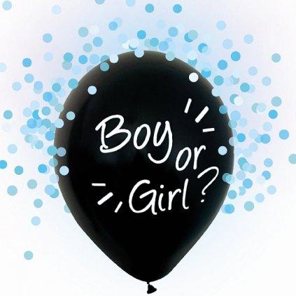 BALÓNKY s potiskem Boy or Girl - modré konfety 4 ks 30cm