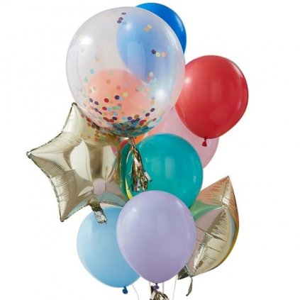 BALÓNKOVÝ BUKET mix balónků a hvězdy 11ks