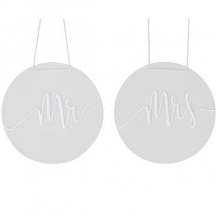 DEKORACE na židle Mr a Mrs akrylová 30cm