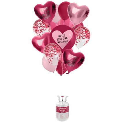 HELIUM  do balonků  - sada s balonky  Love mix 19 ks -  AKCE