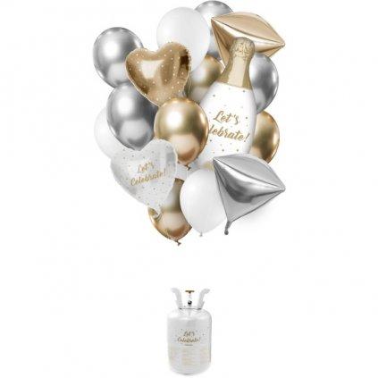 HELIUM  do balonků  + balónky Let's Celebrate 19 ks - AKCE