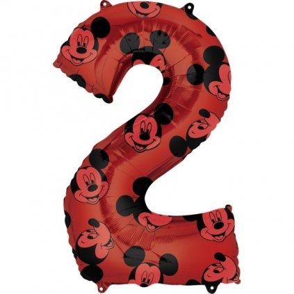 Balonková číslice 2 červená Mickey Mouse 66cm