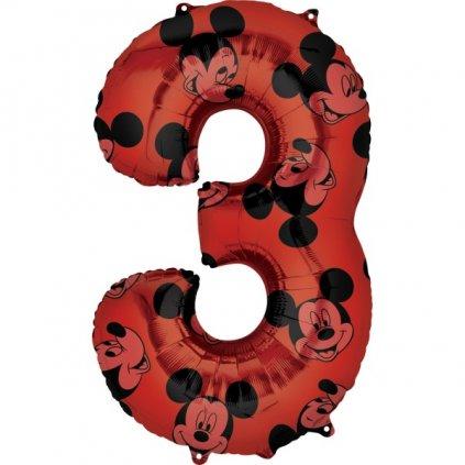 BALÓNEK fóliový číslo 3 červené Mickey Mouse 66cm