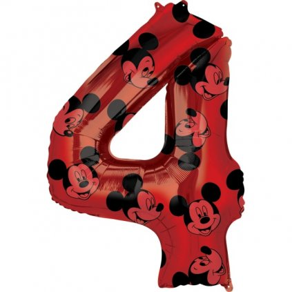 Balonková číslice  4 červené Mickey Mouse 66cm