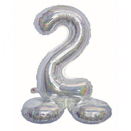 BALÓNEK fóliový číslo 2 samostojné holografické stříbrné 72cm