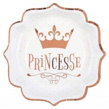 TALÍŘE papírové Princesse Rose Gold 21cm 10ks