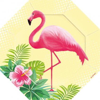 Talířky tematické na party Flamingo Paradise 18,5cm 6ks